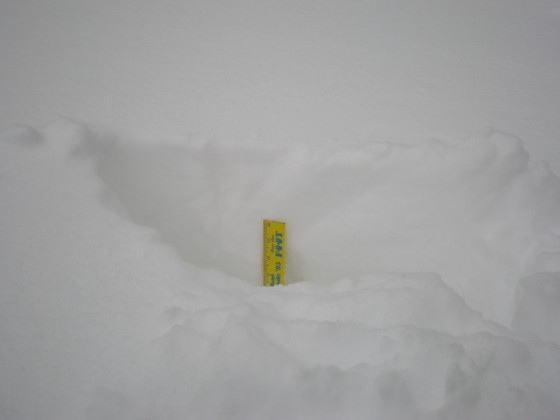 A ruler wasn't long enough to measure the snow depth