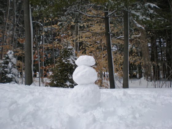 My snowman.  BTW, the snow was NOT cooperating, and it took an inordinate amount of time and effort to make this!