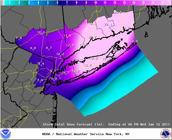 Snowfall forecast from the National Weather Service