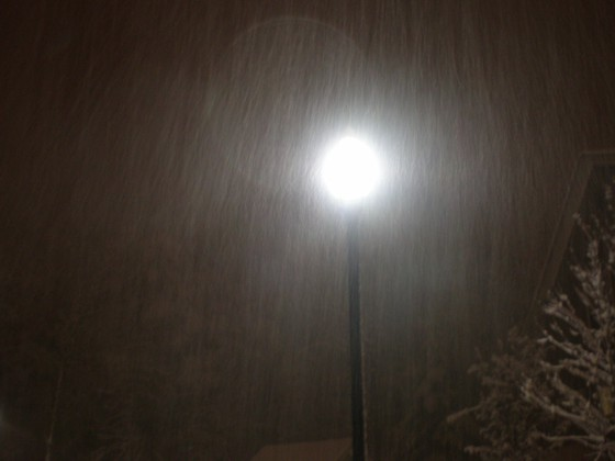 Heavy snow illuminated by a street light