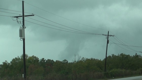 Mysterious funnel/scud bomb a few miles north of Liberty, TX.