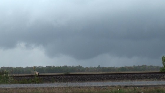 Wall cloud with developing funnel north of Dayton, TX.
