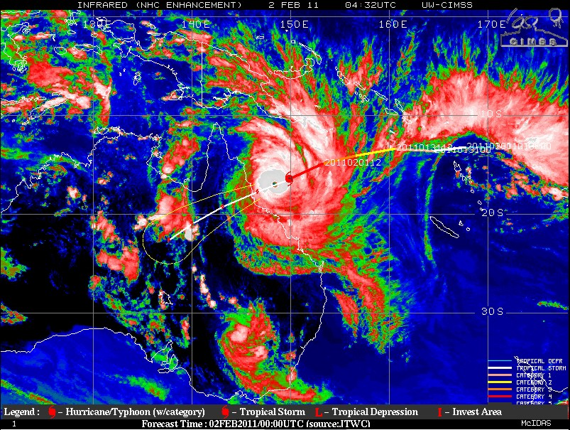 An infrared image of Cyclone Yasi valid 432 UTC.