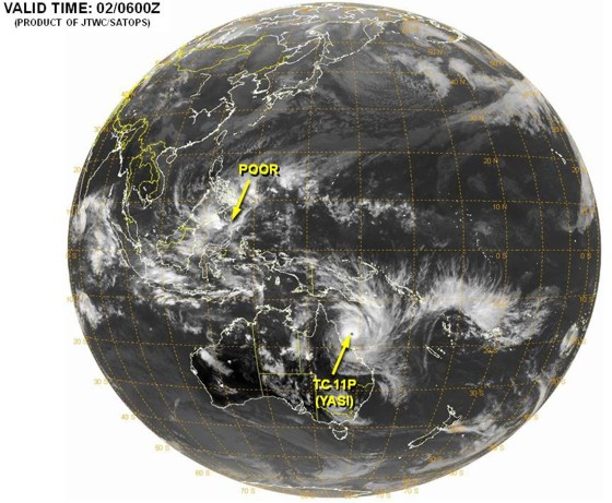 A global perspective on Cyclone Yasi heading for northeastern Australia