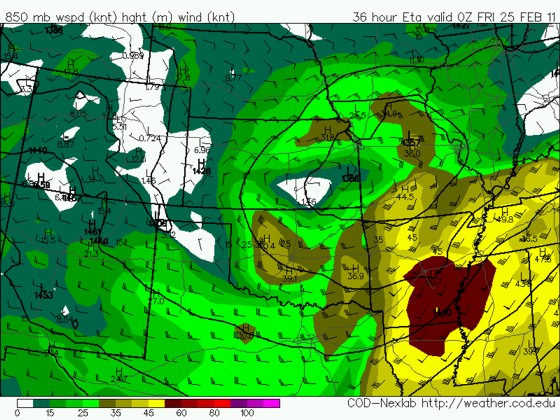WRF 850mb forecast from 12z 2/23 valid 00z Fri 2/25