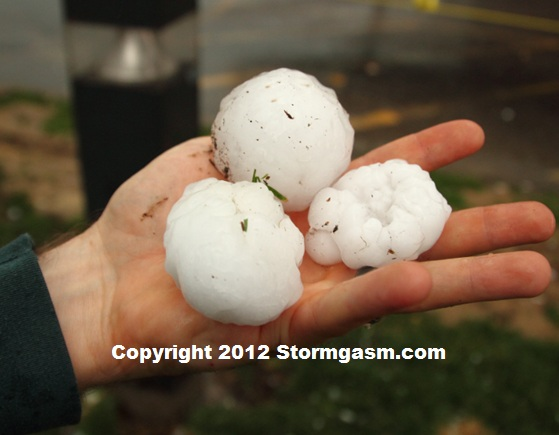 Golfball to baseball sized hail from the storm which followed the Henryville tornado.