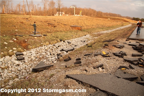 Asphalt that had been scoured from state highway 135 north of Palmyra, Indiana.