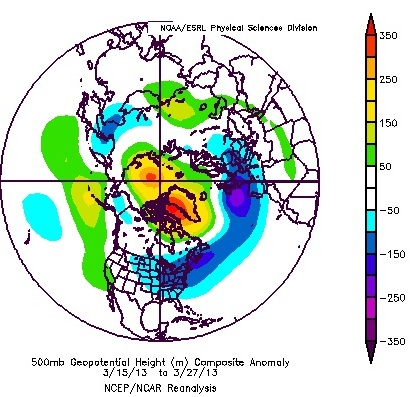 Northern Hemespheric 500mb height anomalies March 15 through March 27, 2013