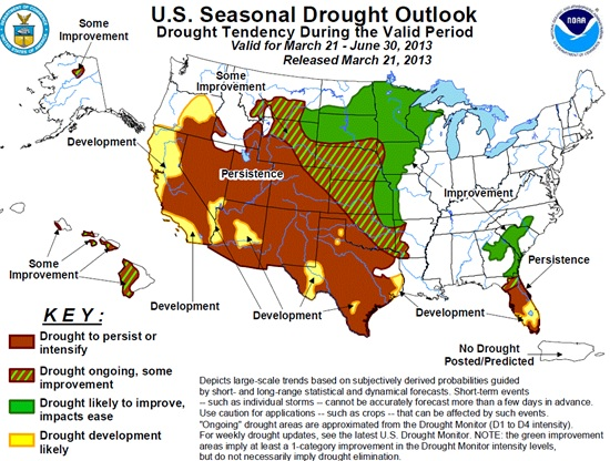 Current U.S. drought outlook through June 30, 2013, created March 21, 2013.