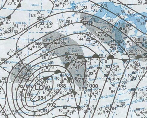 Surface map April 11, 2001 (NCDC) courtesy Iowawx.com