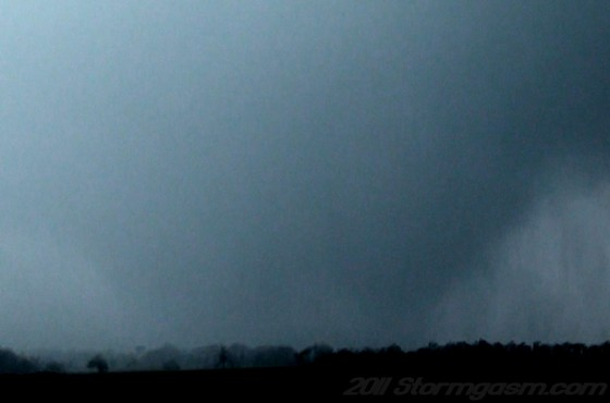 Wedge shaped tornado to our south at 5:07 p.m.