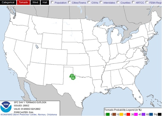 Day 1 Convective Outlook Tornado Probabilty from the Storm Prediction Center valid April 1, 2013 2000UTC.