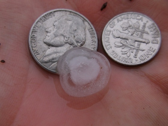 Another shot of the hail.