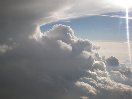 Supercell just north of the plane, with a visible anvil.  This was the reason for our re-direct into Columbia, SC.