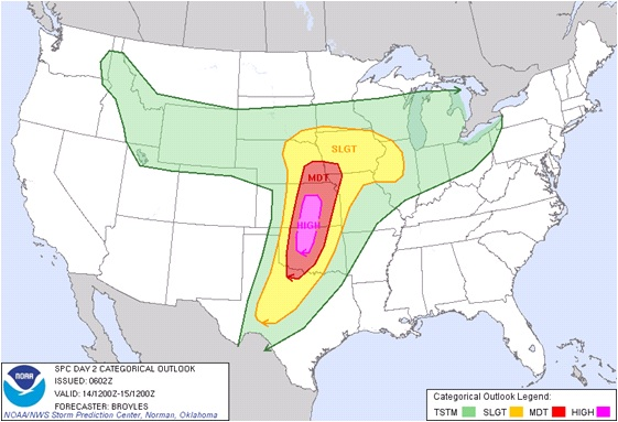 Convective outlook from the Storm Prediction Center produced the morning of April 13, 2012 valid April 14, 2012.