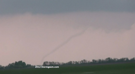 Rope tornado looking north from I-70 near Solomon, KS