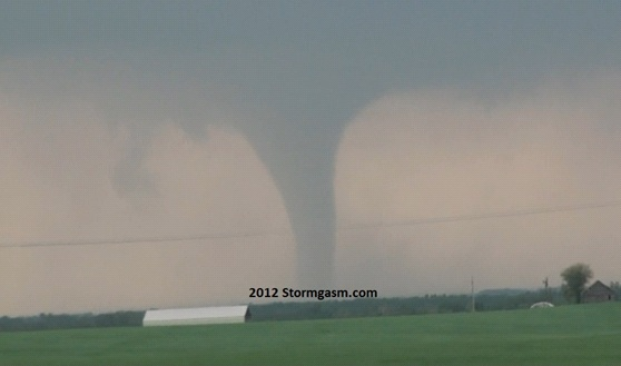Looking several miles north at a stovepipe tornado located a few miles east of Salina, KS