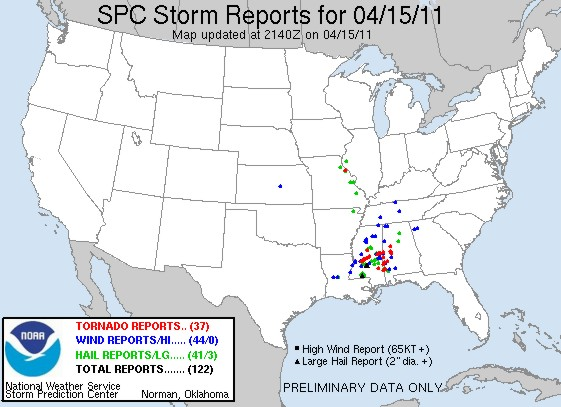 Storm reports from the SPC on April 15, 2011 as of 4:30 p.m. CT.