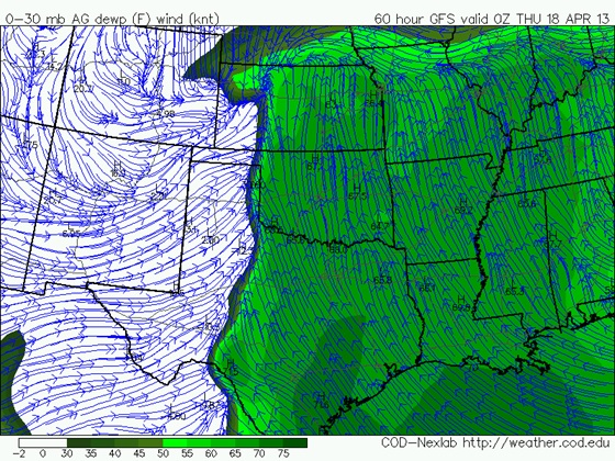 12z April 15, 2013 GFS surface dewpoint forecast for April 17 at 7pm CDT.  Notice how much further north the deep moisture reaches on this model.  Lower 60s dewpoints reach into northern Kansas because the cold front has lifted north into southern Nebraska.  This is a much different scenario vs. what the WRF model indicates.