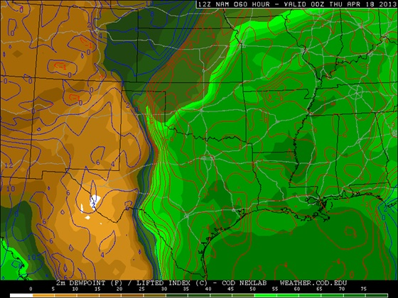 12z April 15, 2013 WRF model surface dewpoint forecast for Wednesday, April 17 at 7pm CDT.  Notice deep moisture only reaches to as far north as central Oklahoma and far east Kansas thanks to the cold front remaining over northern Oklahoma and eastern Kansas.