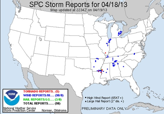 Storm reports from April 18, 2013.