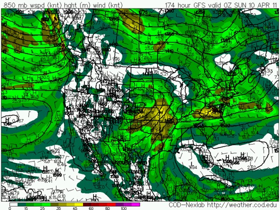 12z 2 April GFS 850mb winds valid Saturday 9 April.