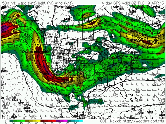 GFS 500mb heights and wind forecast for Monday, April 8 at 7pm CDT.