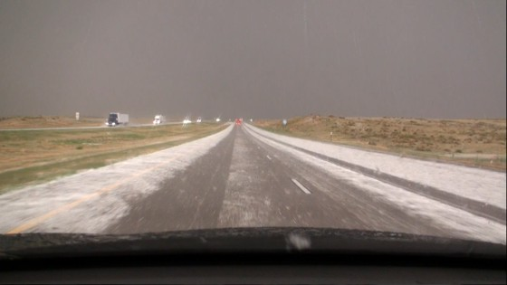 Hail covering the interstate.