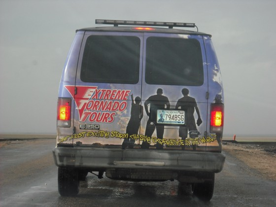 While 'chasing' the storm that amounts to nothing, we run into the Extreme Tornado Tour group.  They are just another group to add to the list of tours we've seen out here...