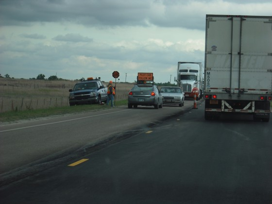 Looking northbound on highway 61 at the southbound traffic, waiting for us to pass by for their turn to go.  Horrible!
