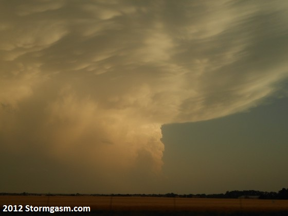 Mammatus clouds seen on the same cell south of Hays.