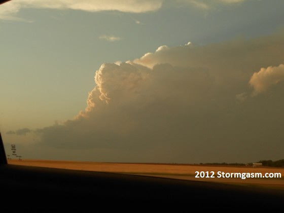 Last shot of the storm north of Hays that we dropped, looking to the north.