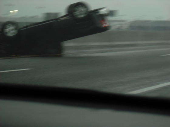 Car flipped on interstate 35 on the north side of Norman.