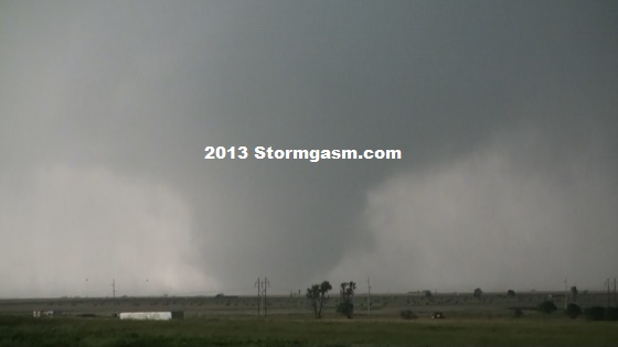 Multi-vortex tornado looking south from a dirt road just east of a county road feeding south off I-40 south of El Reno.