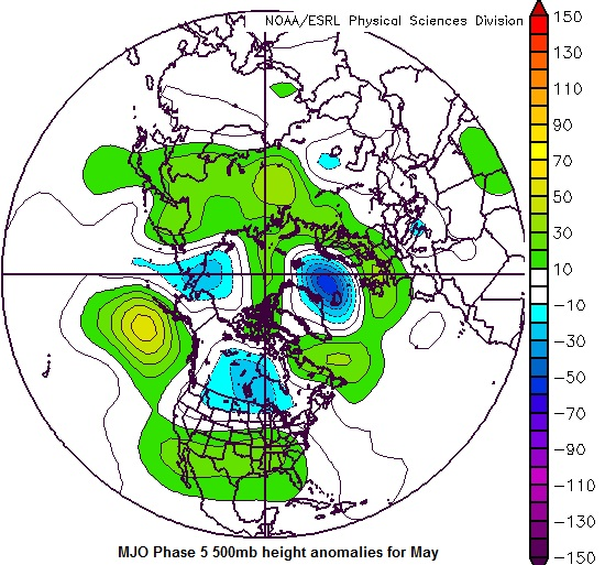 500mb height anomalies for MJO phase 5 during the month of May.  Should this occur in late May it suggests a favorable storm chasing pattern.