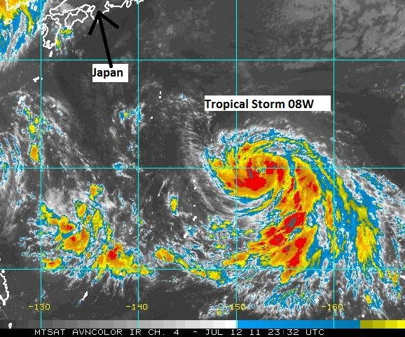 Infrared satellite image of Tropical Storm 08W at 7:32 EDT on July 12, 2011