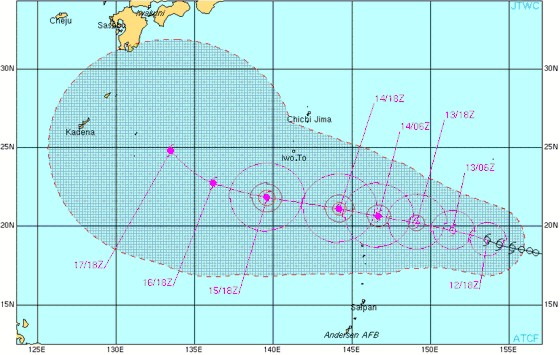 Track forecast for Tropical Storm 08W valid July 12 from the Joint Typhoon Warning Center