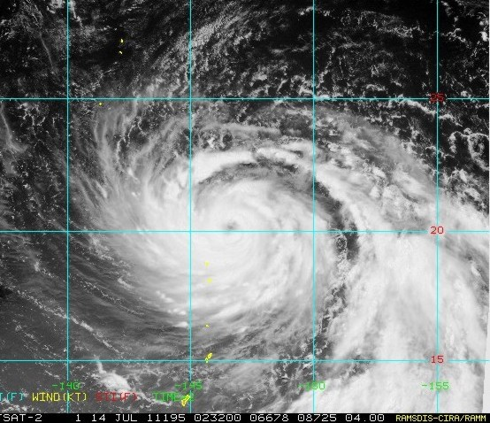 Visible satellite image of Typhoon 08W around 8 p.m. EDT on July 13, 2011.