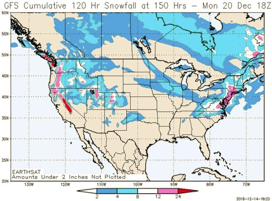 GFS accumulated snowfall (inches) for the storm beginning 12/19 and ending the afternoon of 12/20