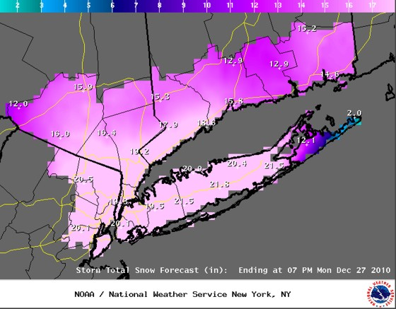 NWS snowfall forecast for the Tri-State region