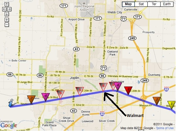 Damage path of the Joplin, Missour EF5 tornado.  The arrow points to the location of the Walmart where I went inside.