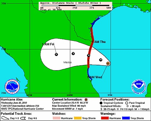 National Hurricane Center Forecast valid June 30, 7:00 a.m. CDT
