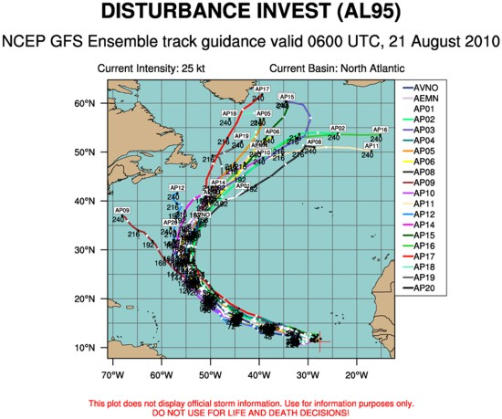 GFS Ensemble tropical model track forecast members August 21