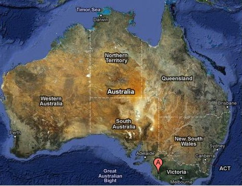 "Map of Australia. The ""A"" indicates the location of the tornado on July 31"