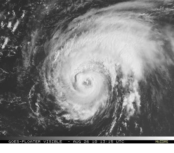 August 26 morning visible satellite image of Hurricane Danielle.  Notice the eye at the center, and the banding structure.  This is a visual sign of good outlfow.