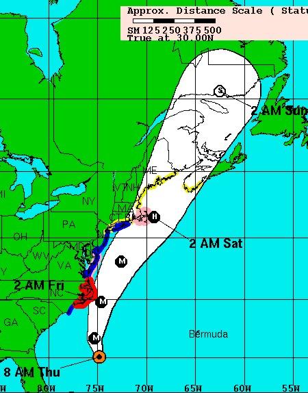 National Hurricane Center track forecast for Hurricane Earl 11a.m. Sept 2