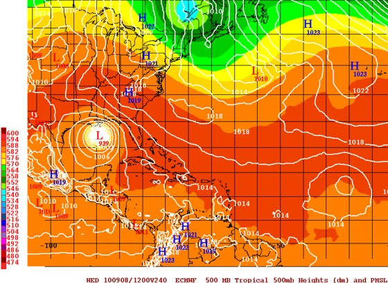 12z August 29 European Operational model takes Hurricane Fiona to the central Gulf on September 7.