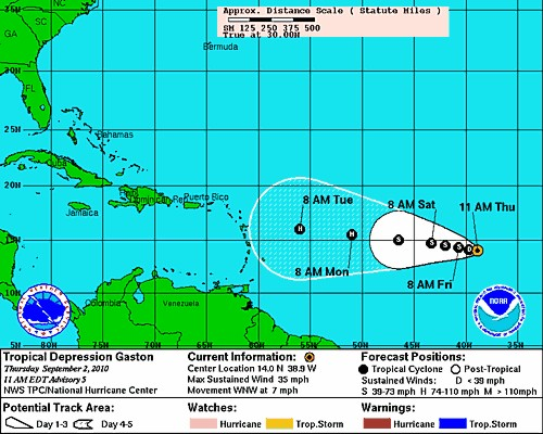 National Hurricane Center track forecast for Tropical Depression Gaston 11a.m. Sept 2