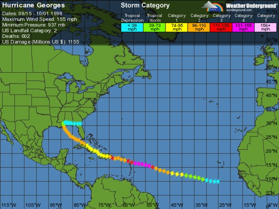 Hurricane Georges Sept 15- Oct 1 1998, from Weather Underground