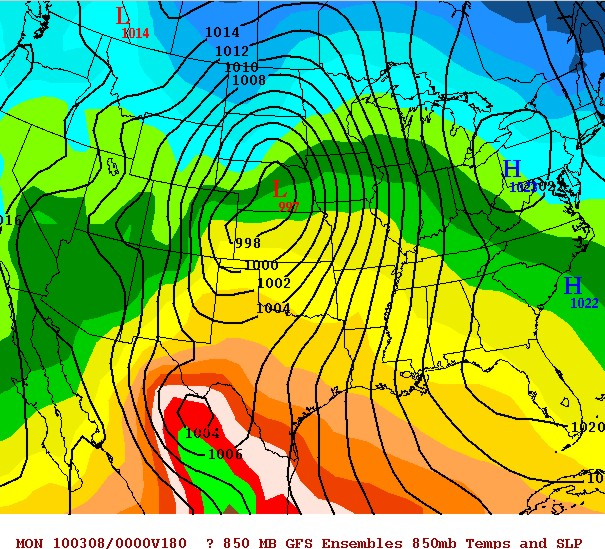 GFS Ensemble mean surface pressures from 12z Feb 28 valid March 7